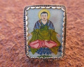 Blue Buddha #2 Cocktail Ring Sterling Silver and Shrinky Dink Shrink Plastic Buddhist Yoga Religious Kitsch Jewelry