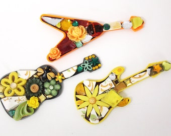 Mosaic Guitar Magnet or Pins