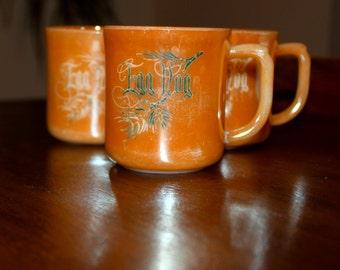 Fire King Anchor Hocking Peach Lustre Set of Three 3 Egg Nog Mugs Cups 1940s Christmas