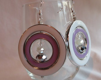 Lavender and White Dangle Earrings on Silver Ear Wires, earrings, dangle, lavender, white, round