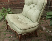 UNIQUE Vintage French Provincial chair, low slung chair, tufted Mid Century chair, Hollywood Regency chair, shabby chic bedroom chair,