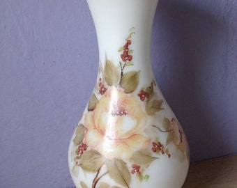 "Antique milk glass vase, 13"", Victorian glass vase, hand painted vase, yellow roses vase, antique glass, white glass vase shabby chic decor"