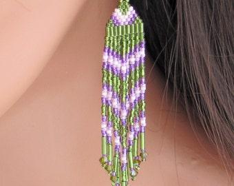 Long Seed Bead Earrings - 3 Inch Green and Purple - Beaded Fringe Earrings - Olive Green Dangle Earrings - Chandelier Style