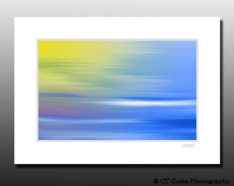 Abstract Art, Yellow and blue wall decor, digital painting, Signed Matted Print, Fits 5x7 inch frame