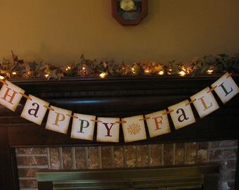 Happy Fall Banner Autumn Colors Garland Bunting Swag Sign Beautiful Fall Photo Prop