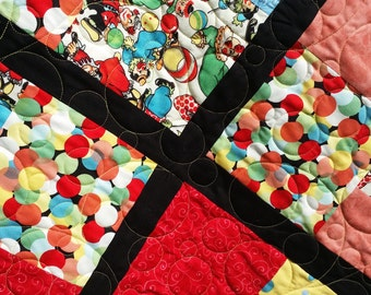 Handmade 1940's clown fabric FULL size quilt.  Retro, Boho, kitsch quilt. Vintage inspiration. Quiltsy handmade. Bedspread. Bed Cover.