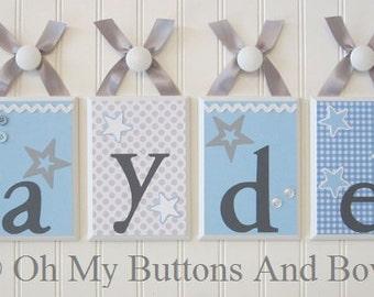 Custom Name Letters . Name Blocks . Nursery Decor . Wall Letters . Hanging Wood Name Blocks . Starlight . Stars . Gray Blue White . Jayden