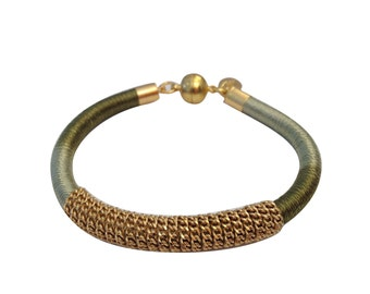 Green Ombre and Gold Knitted Silk Bracelet