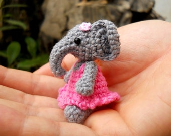 Cute Mini Elephant Amigurumi - Tiny Crochet Elephant Stuffed Animal  - Made To Order