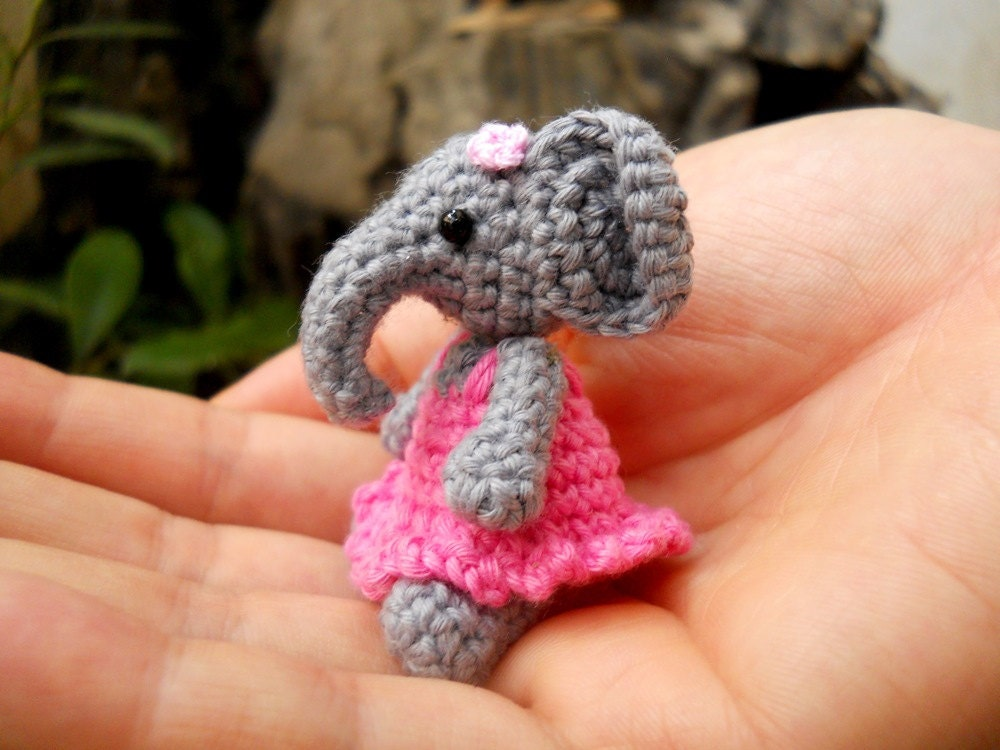 Cute Mini Elephant Amigurumi Tiny Crochet Elephant Stuffed