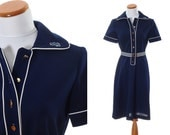 Vintage Navy Blue T Shirt Dress - 1960s Belted Short Sleeve Tailored Shift Striped Belt & White Piping Alligator - Fits Medium to Large 14H