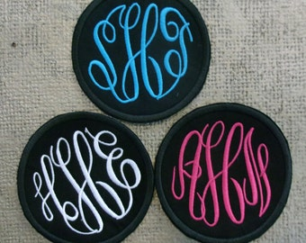 Embroidered Monogram patch 3 letter classic fancy circle script