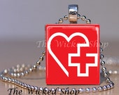 Scrabble Tile Pendant -Nurse Pendant with Heart - Nurse - Health Care Necklace - Free Silver Plated Ball Chain (NSA 17)