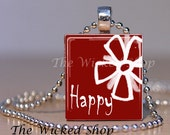 Scrabble Tile Pendant Necklace - Inspirational Necklace  -HAPPY  (INSP9) Comes with a free Silver Plated Ball Chain