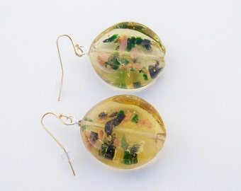 Chunky earrings yellow green gold speckled acrylic earrings