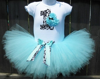 Baby's First Birthday Aqua Blue and Black Damask Cupcake Tutu Set and Matching Headband | Birthday Photo Prop, Party Dress