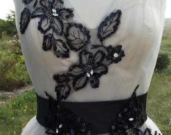 Alternative wedding dress taupe with black lace appliques