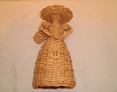 Vintage Willow Reed Girl wearing Hat & holding a basket Cottage Chic Victorian Country Basket Retro