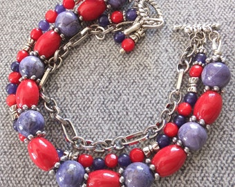 Red and Purple Bracelet ~ Multi Strand Bracelet, Natural Stone Bead Bracelet, Jasper, Bamboo Coral, Aventurine, FREE SHIPPING, OOAK