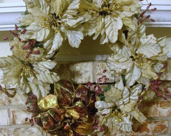 Pine Wreath with Golden Poinsettias and tasselled rope embellishment