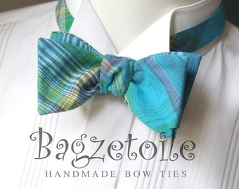 Bow Tie - mens, turquoise plaid / freestyle bowtie, adjustable, self tie - just for men - I am a maker of  mens bowties