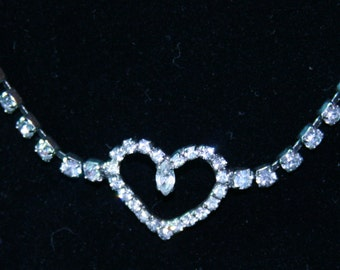 1950s Clear Crystal Rhinestone Heart Necklace and Modern Stretch Ring and Bracelet