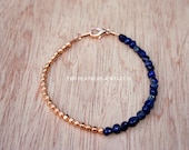 Lapis Bracelet - Copper Bracelet - Lapis Lazuli Nuggets - Gemstone Bracelet - Half And Half Bracelet - Minimalist Jewelry - Something Blue