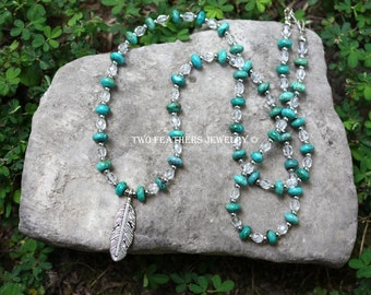 Turquoise Necklace - Silver Feather Necklace - Crystal Necklace - Native Inspired Southwestern Jewelry - Gemstone Necklace - Two Feathers