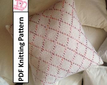 PDF KNITTING PATTERN - Beaded Diamonds 14x14 pillow cover