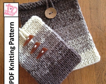 PDF KNITTING PATTERN, Easy Ombre in two sizes - sleeve, cover, case for iPad Mini, Kindle Fire , Nook, E Reader, tablet, iPad