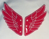 Hot Pink Pleather wings stitched with white threadPercy Jackson Inspired Shoe Wings