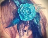 Alice in Wonderland HEADDRESS// Rabbit, Tea Cup, Blue, Peacock,  Tribal bellydance, Fusion, Goddess, Wedding