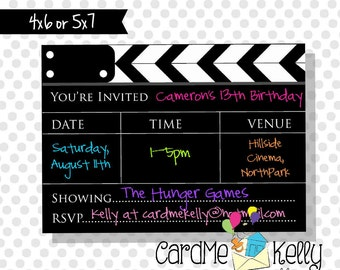 Printable Boy or Girl Showtime Movie Star Birthday Invitation - Digital File