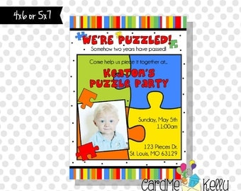 Printable Colorful Puzzle Pieces Polkadot Party Birthday Invitation- Digital File