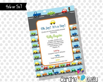 Printable Road Stoplight Traffic Traffic Light Cars and Trucks Baby Shower Invitation - Digital File