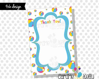 INSTANT DOWNLOAD Printable 4x6 Coordinating Beach Ball Splish Splash Birthday Swim Party Invitation Thank You - Digital File
