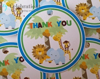 Set of 12 Personalized Favor Tags -It's A Jungle Out There -Thank You Tag -Gift Tag -Baby Shower -Birthday Party -Jungle Animals