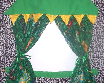 Deep in the Jungle Doorway Puppet Theater for Imaginative Play with carry bag and storage pockets