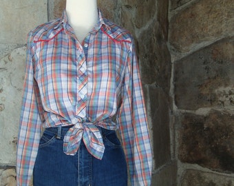 80s RAINBOW PLAID SHIRT vintage western button up tie front cowgirl M