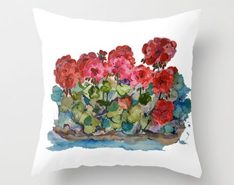 Outdoor Pillow Cover, Red Geranium Love