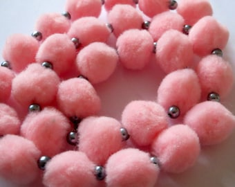Fluffy pink pom pom necklace, handmade, party gift, OOAK