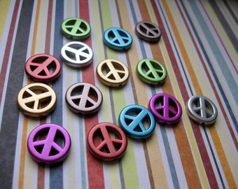SALE - 14 Peace Sign Beads / Charms - C1607