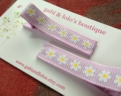 Daisy Hair Clips, Lavender, Spring- No Slip Clips - Great Birthday Party Favor - Little Girl Hair Accessory