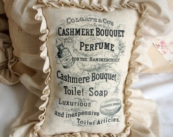 Farmhouse Style Pillow - Vintage Soap Perfume Advertisement with Ruffle