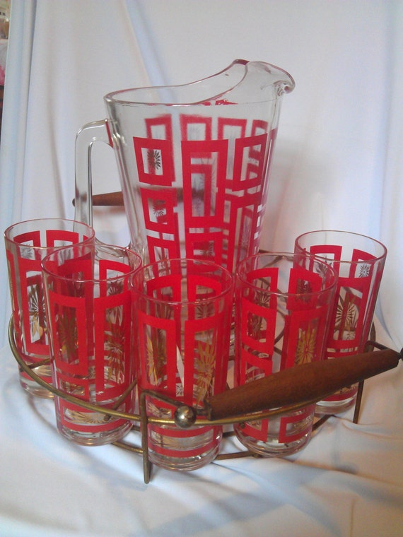 RESERVED Stephen: Vintage Red and Gold Starburst Drink Set Glasses and Pitcher with Metal Tray