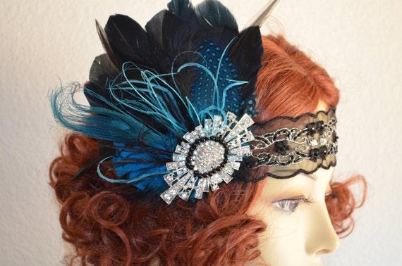 READY TO SHIP, Black and turquoise Art deco Headpiece,Feather flapper,Rhinestone,1920s headpiece,Gatsby headband,Downton Abby headband,Aqua