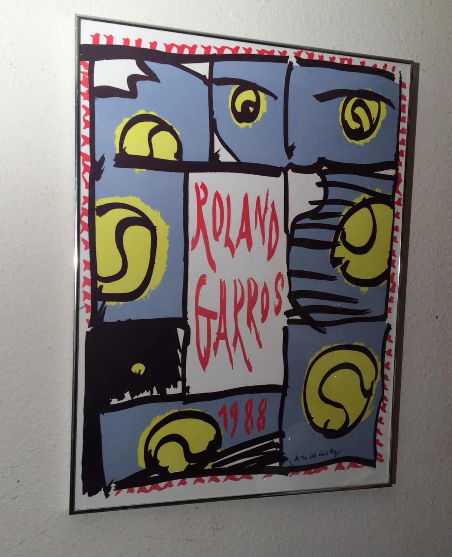Vintage Original Roland Garros Art Poster Print by ...