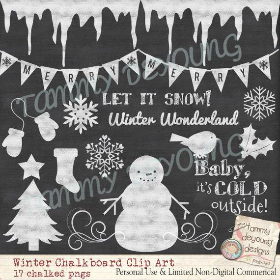 Christmas Snowman Clipart chalkboard images, digital winter graphics ...