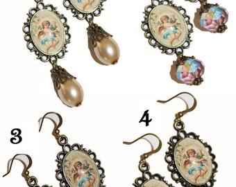 Dangle earrings, hook earrings, brindal earrings, weddings, glass pearls, Angel earrings, teardrop earrings