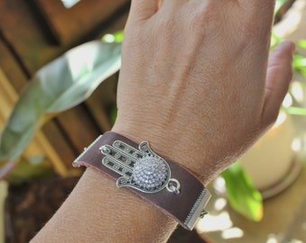 Hamsa charm bracelet, leather bracelet, Hamsa bracelet, brown leather bracelet, evil eye charm bracelet